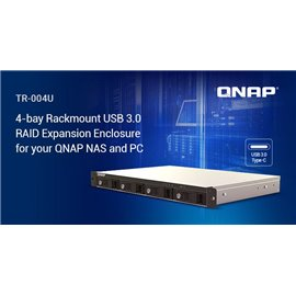 """QNAP EXPANSION, TR-004U, 4-Bay 3.5"""" SATA HDD USB 3.0 type-C hardware RAID external enclosure. USB-C to USB-A cable included. Exp"""