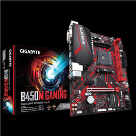 Placa de baza Gigabyte B450M GAMING, AMD B450, 2 x DDR4 DIMM sockets supporting up to 32 GB of system memory, Support for DDR4 3